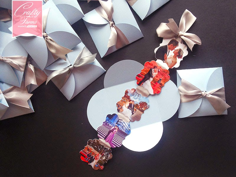 Petal Fold Wedding Card with Hanged Photo Tags