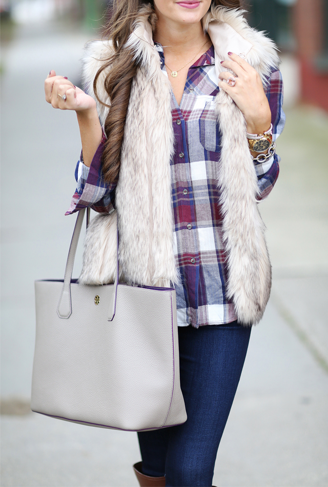 Faux fur vest with plaid top