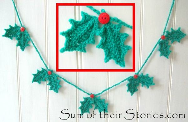 Crocheted Holly leaf garland