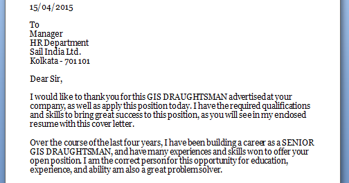 Junior Drafter Cover Letter