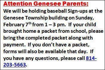 2-7 Genesee Baseball Signups