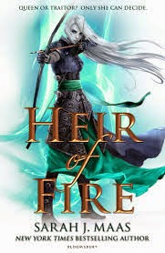 Book cover of Heir of Fire, from the Throne of Glass series by Sarah J. Maas