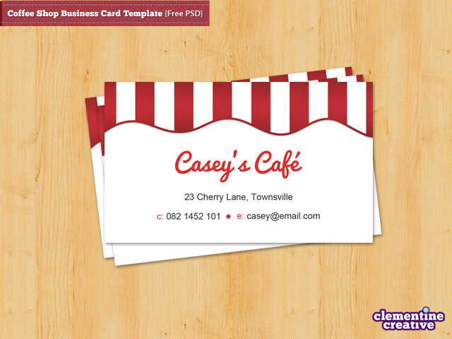 Coffee Shop Business Card Template Free PSD - Email business card templates