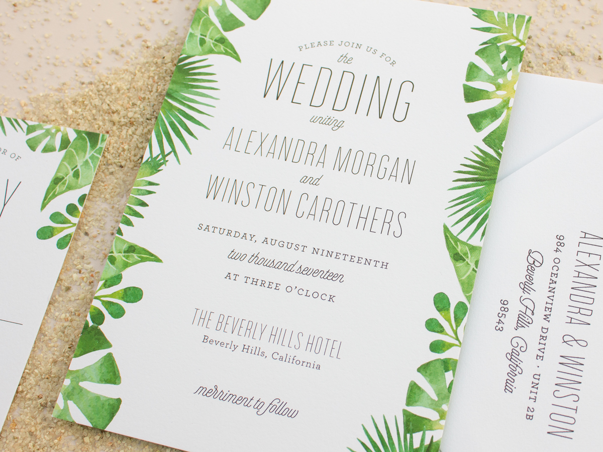 The Watercolor Collection 2016 Wedding Invitations: Palm - Banter ...