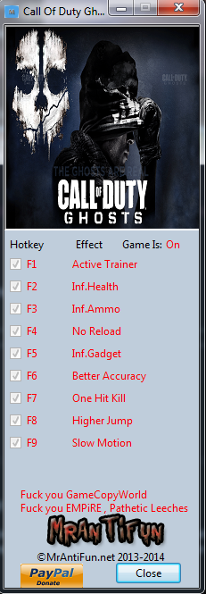 Call Of Duty Ghosts V3.12 Trainer +8 MrAntiFun