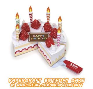 Papercraft imprimible y armable de una Tarta de cumpleaños / Birthday cake. Manualidades a Raudales.