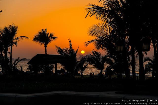 Закат, Sunset, Пальмы, тропики, Madinat Jumeirah, Дубай, Залив, путешествие,