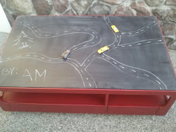 Engine Red Chalkboard Table