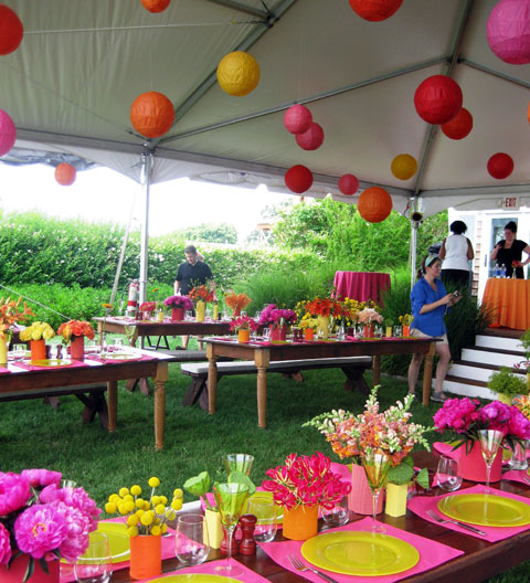 Hawaiian Themed Backyard Party : Colour theme late summer colours of deep orange, yellow, pink and