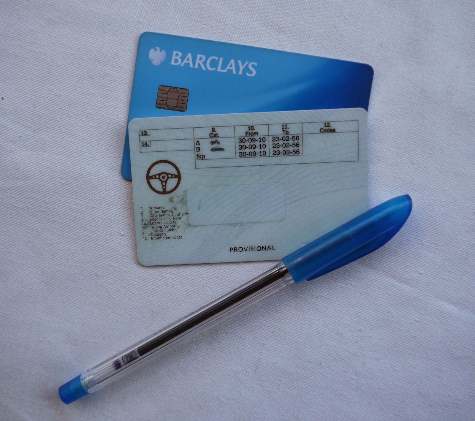Barclays Card and Provisional Licence