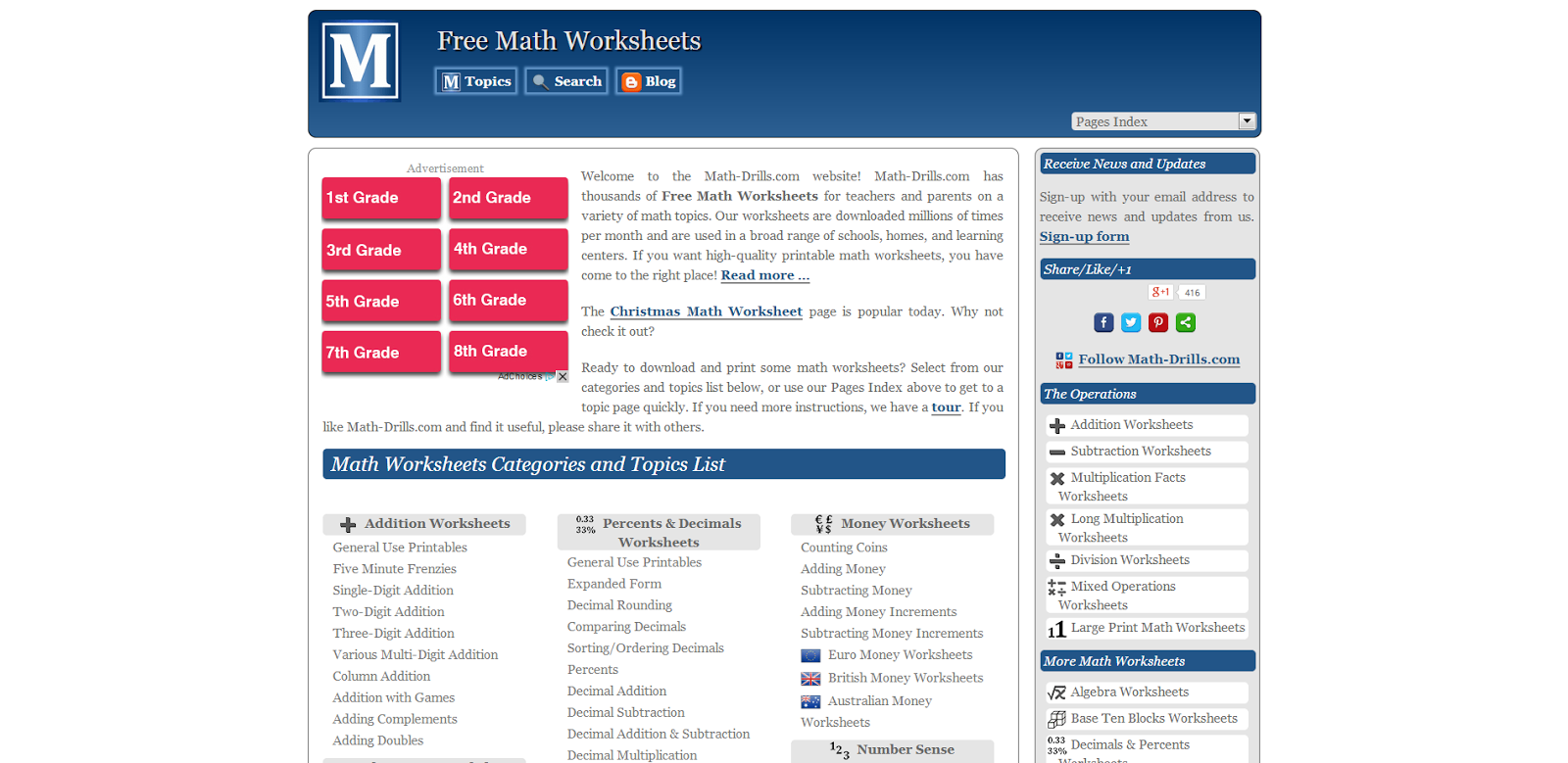 Learning Never Stops 56 great math websites for students of any age – Math Worksheets Websites