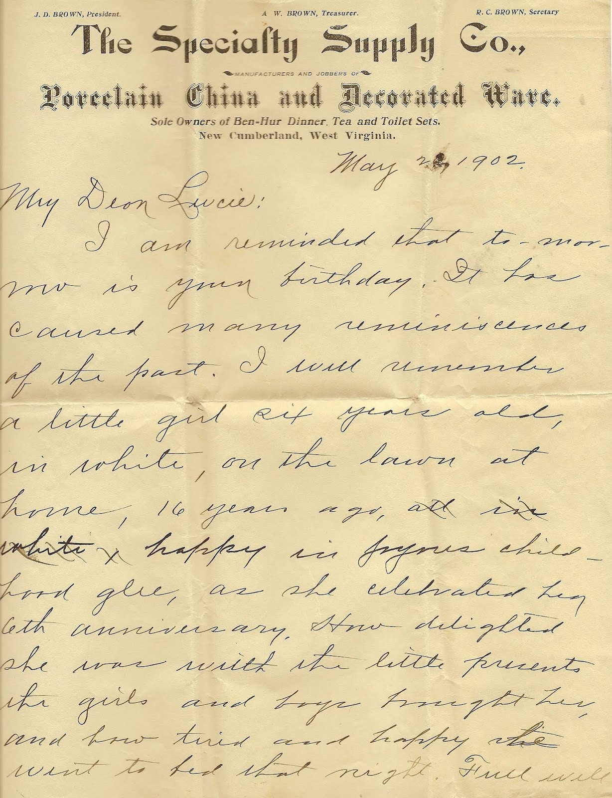 Uibles: A Family Blog: 1902 A.W. Brown's birthday letter to