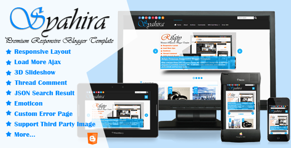 Syahira Premium Responsive Blogger Template Poster