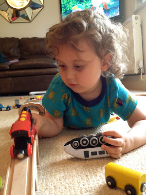 Day 201 of The 366 Project, playing with trains