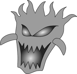 Grayscale Demon Head