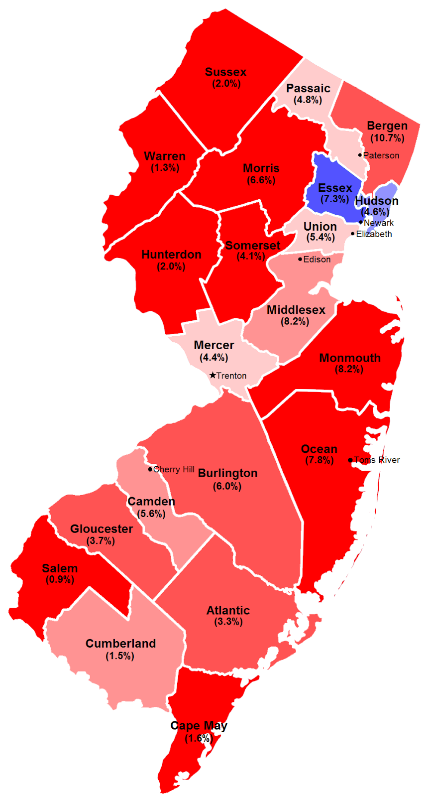 2013 new jersey gubernatorial election by county and margin yes we are using the republican red democrat blue convention