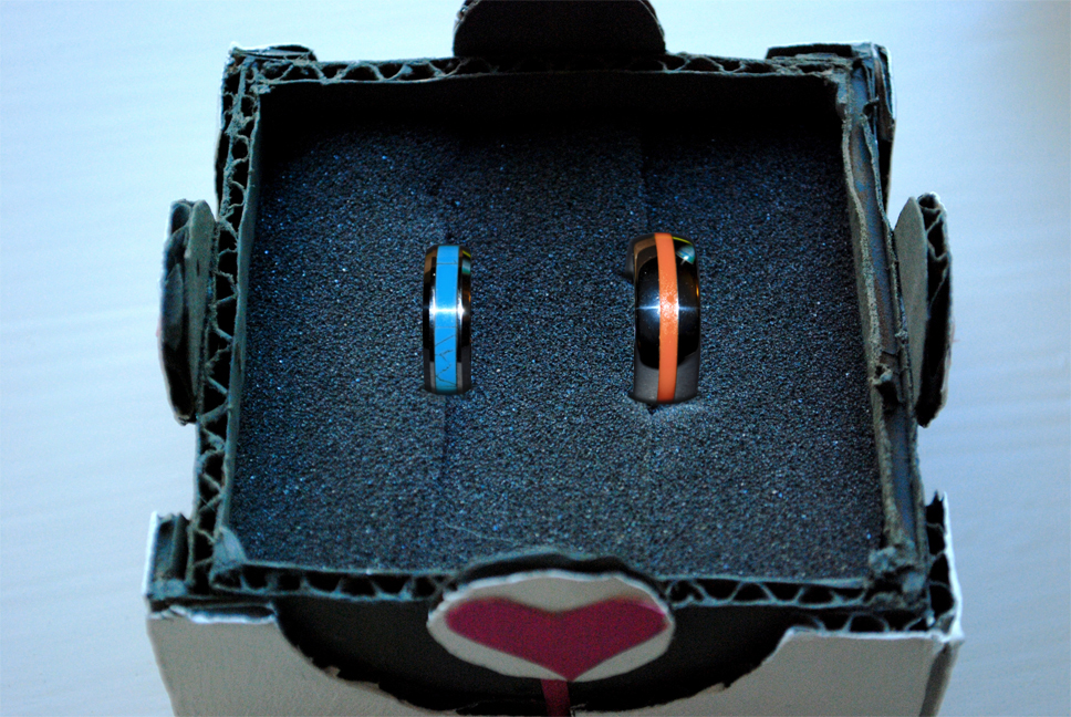 portal companion cube ring box and engagement rings