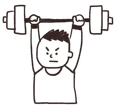 重量挙げの選手のイラスト(スポーツ) モノクロ線画