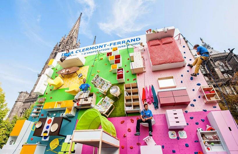 Kletterwand mit Möbel, Accessoires und Leuchten zur 30sten Filialeröffnung von IKEA in Clermont-Ferrand