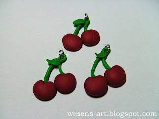 Polymer Clay Cherries      wesens-art.blogspot.com