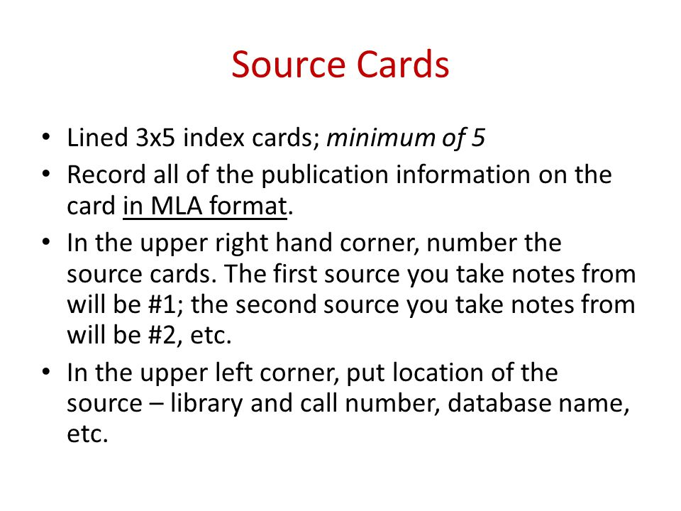 Mrs Agates Class Mla Format Source Cards