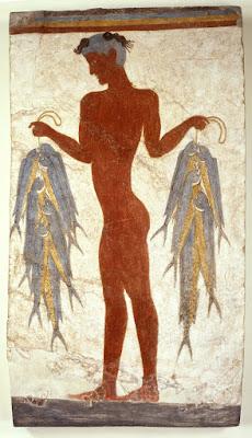 Η διάσημη τοιχογραφία του «Ψαρά» εκτίθεται στη Θήρα