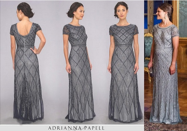 Pregnant Princess Victoria In Adrianna Papell Dress