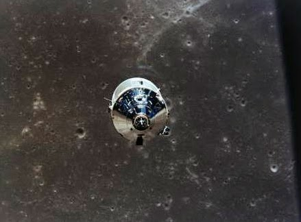 The Lunar Module Eagle ascending from the surface of the Moon to re-unite with the Command Module Columbia