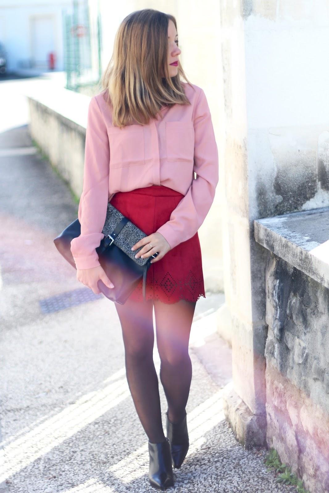 tenue automne rose et bordeaux