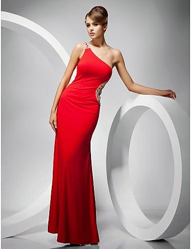 Vestido rojo hombro lateral