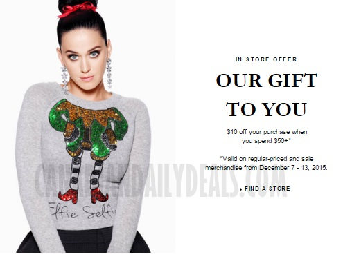H&M Holiday Gift $10 off When You Spend $50