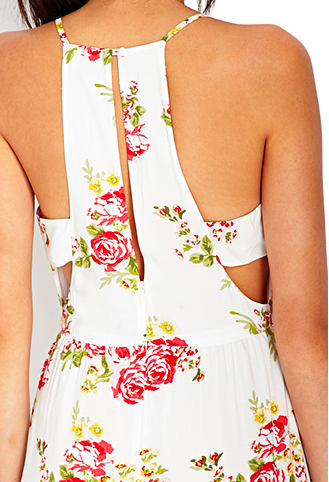 Very cool back on this white maxi dress with pink flowers, from Forever21