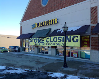Image of a Blockbuster Video Store Closing in Michigan