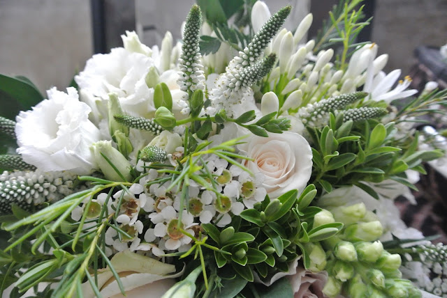 DIY bridal bouquet wedding flowers roses freesias veronica lisianthus agapanthus
