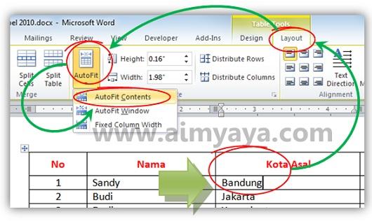 Gambar: Cara membuat Autofit contents pada tabel microsoft word  2010