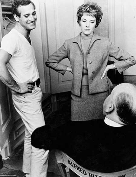 Paul Newman and Julie Andrews discussing with Alfred Hitchcock on the set of Torn Curtain.