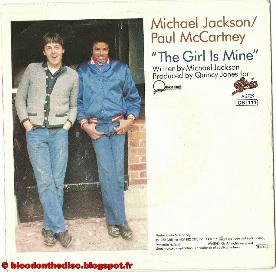 The Girl Is Mine 45T Back Cover