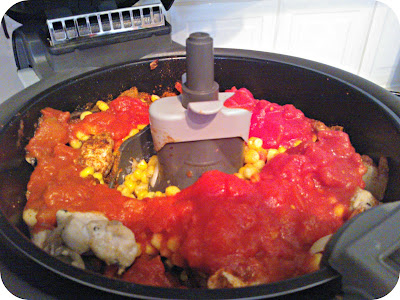 Discovery Foods Actifry Fajitas - Adding Seasoning, Tomatoes and Sweetcorn