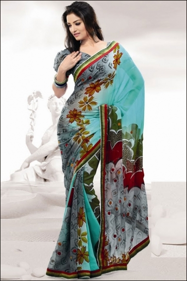 latest fashion 2012 printed sarees block floral simple printed sarees designs