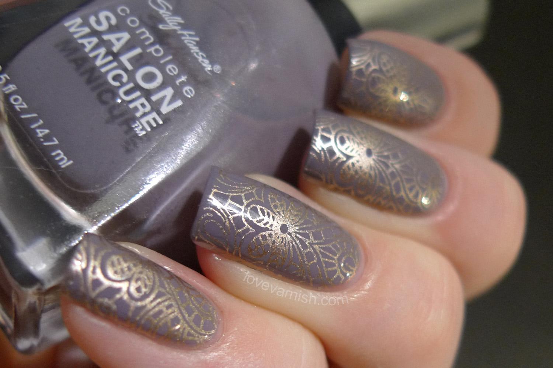 Sally Hansen Greige Gardens Emily de Molly stamping nail art