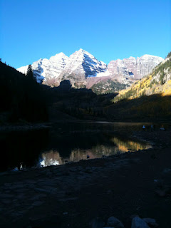 The Maroon Bells, located near Aspen. Photo taken by Nan early on Saturday, September 29, 2012