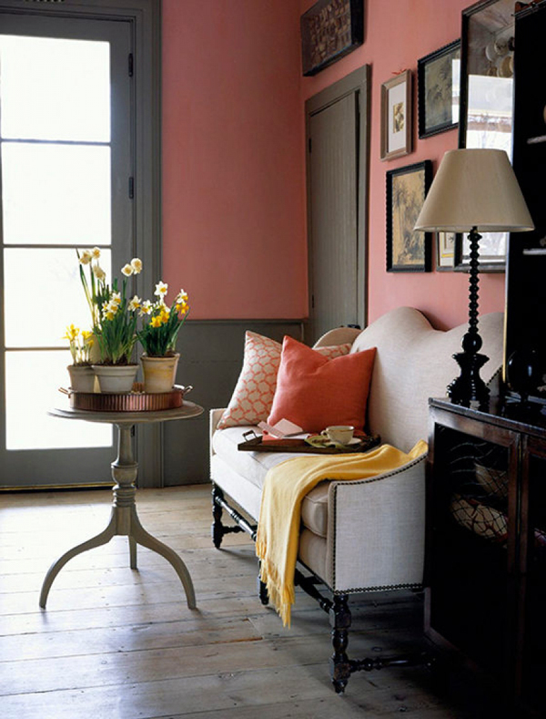 Eye for design decorating your interiors with pink and grey for Living room ideas pink and grey