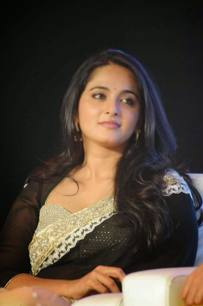 Anushka Shetty Black Sarees at Lingaa Movie Audio Success Meet