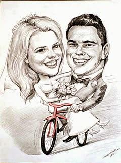 bryllup karikatur på en sykkel