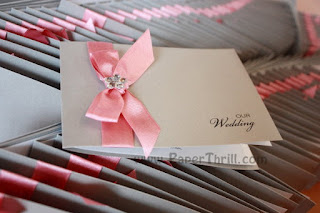 Cute pink printed wedding invitation card