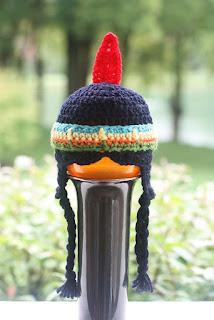 bonnet-crochet-perruque-indien-pocahontas