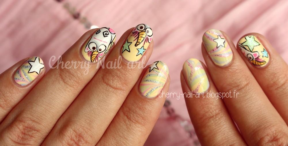 nail art water marble et licorne d'agnes moi moche et mechant