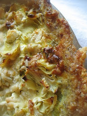 artichoke tart with polenta crush and fresh rosemary