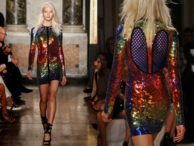 Emilio Pucci 2014 SS Rainbow Sequins Short Dress