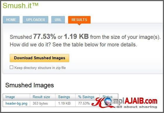 Kompres Size Gambar Online Dengan Smush.it